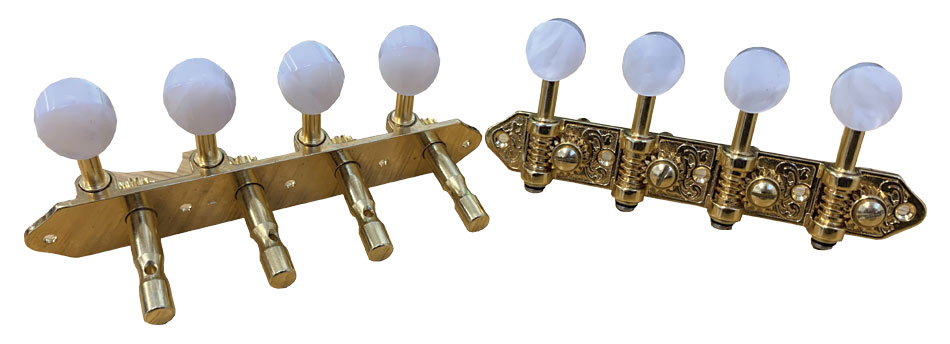 Ashbury Slotted Mandolin Machine Heads High quality mandolin machine heads.Gold colour finish, pearloid buttons