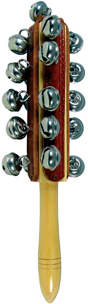 Atlas Bell Shaker, Wood Stick Multiple bells on a wooden stick. Lovely jingly sound.