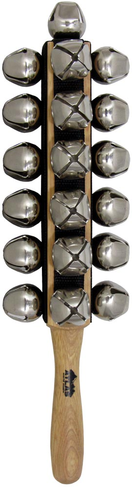 Atlas 4 Sided Sleigh Bells 6 x 4 rows of metal bells mounted on a wooden handle. Plus one bell on top!