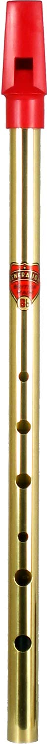 Brass Bb Generation Whistle Tin whistle with a red plastic mouthpiece.