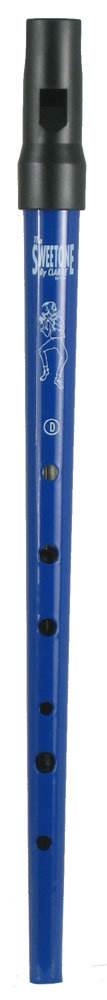 Clarke Sweetone High D Whistle, Blue Traditional tapering tin tube with moulded black plastic mouthpiece