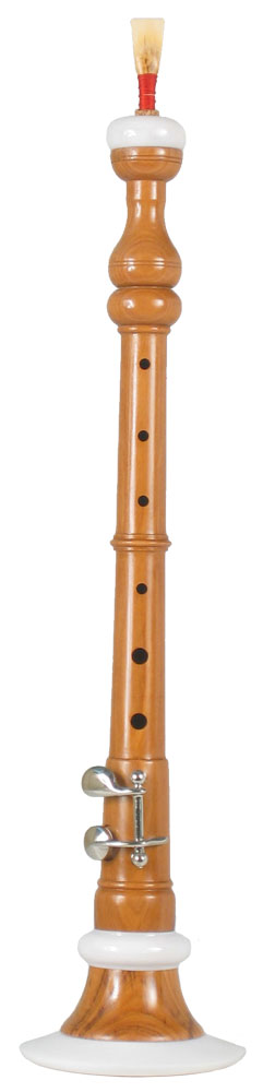 Glenluce Student Bb Bombarde, cocuswood Light coloured hardwood with ivorine mounts, 1 key. Complete with reed.