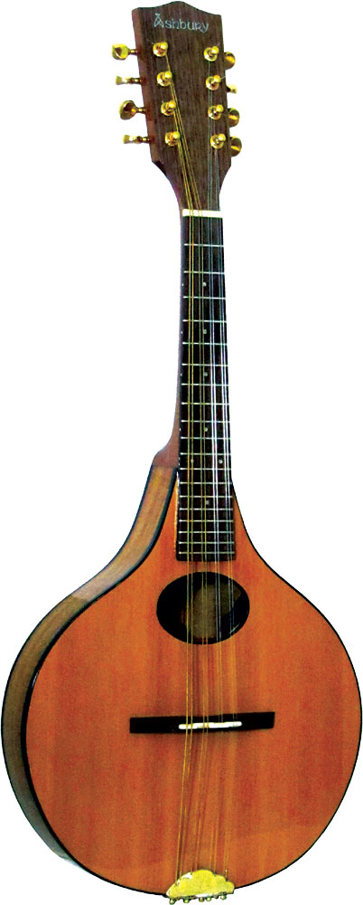 Ashbury Lindisfarne Mandolin Onion shaped body. Solid cedar top, solid koa back and sides..