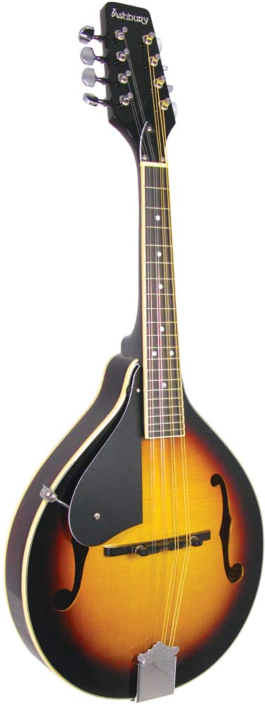 Ashbury A Style Mandolin, Left Handed Left handed, spruce top, mahogany body. f-hole model, brown s/b finish..
