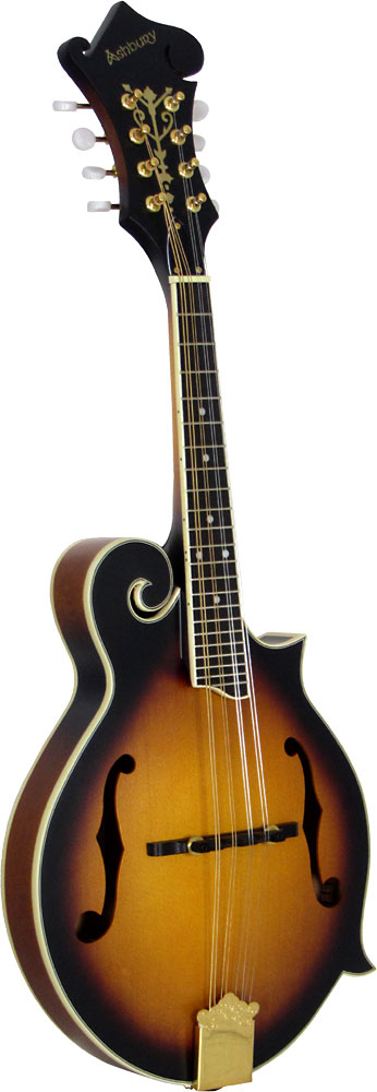 Ashbury F Style Mandolin, Sunburst Bluegrass Scroll Mandolin, Matt Sunburst, F sound holes..