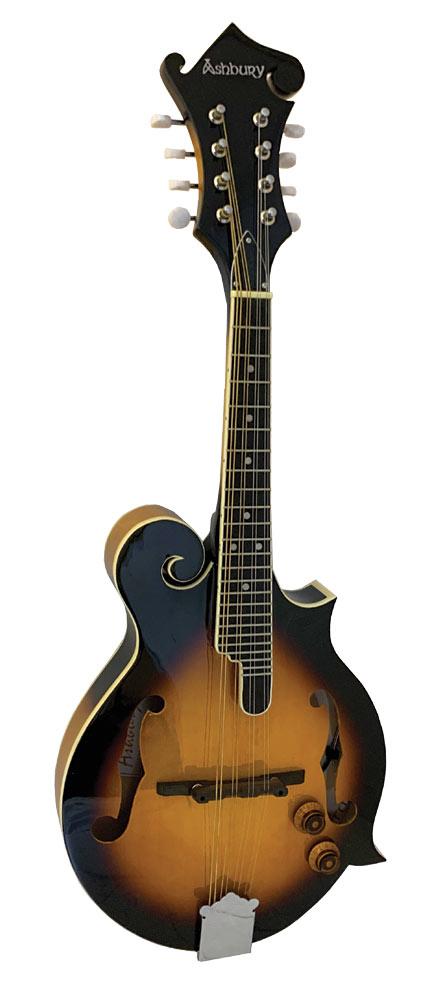 Ashbury Electro F Style Mandolin, S/B Electro Acoustic Mandolin with tone and volume controls, Sunburst finish.