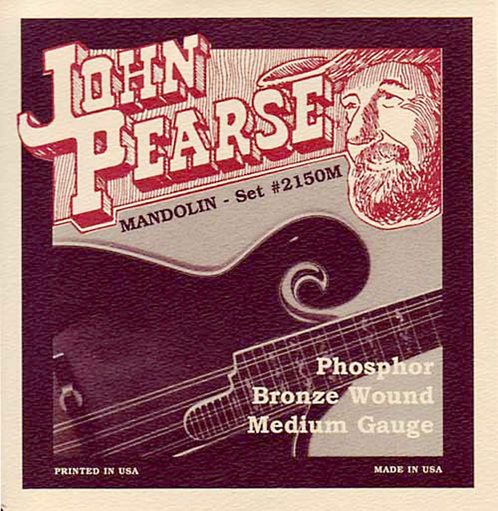 John Pearse Mandolin Strings, Medium Gauge Phosphor Bronze wound, loop ended from the legendary Breezy Ridge company