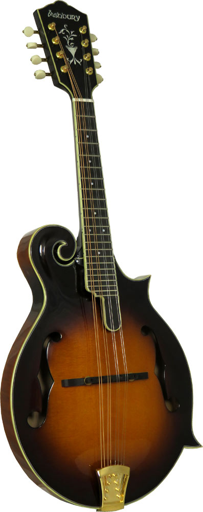 Ashbury F Style Bluegrass Mandolin Solid carved AA spruce top with solid curly maple back and sides. Scroll Body.