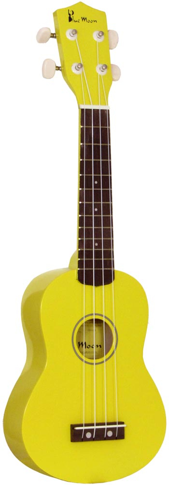 Blue Moon Coloured Soprano Uke, Yellow Good quality, very playable Uke. Lindenwood fingerboard and bridge. Nickel frets