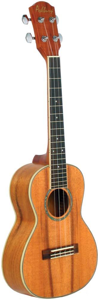 Ashbury Tenor Ukulele, Koa Body Curly koa top, back and sides, bound fingerboard. Aquila strings.