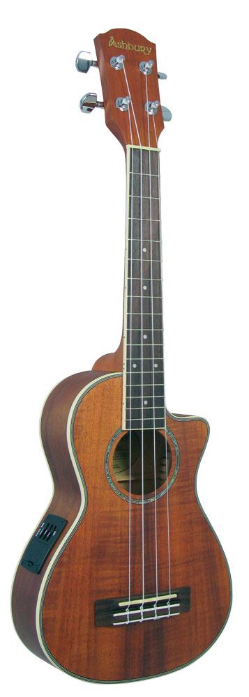 Ashbury Tenor Ukulele, Electro Acoustic Cutaway, pickup & EQ. Acacia koa body, bound fingerboard, Aquila strings.