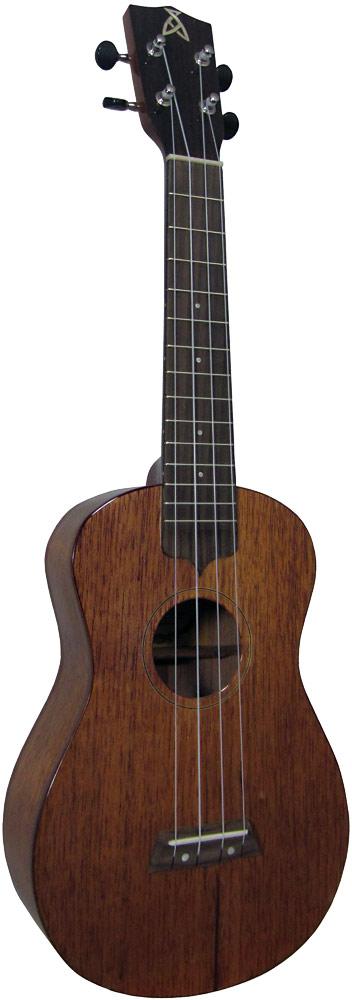 Ashbury Concert Ukulele, Solid Sapele Solid sapele top, back and sides, hardwood fingerboard, high gloss finish.