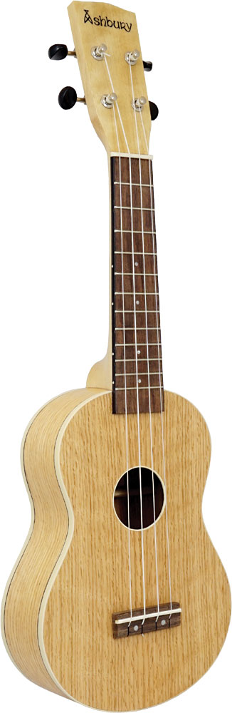 Ashbury Soprano Ukulele, Flamed Oak Flame oak top, back and sides. Satin finish. Aquila strings.