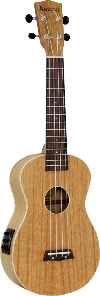 Ashbury Concert Uke, Electro Acoustic Cutaway with Fishman Kula uke pickup. Flame oak top, back and sides.