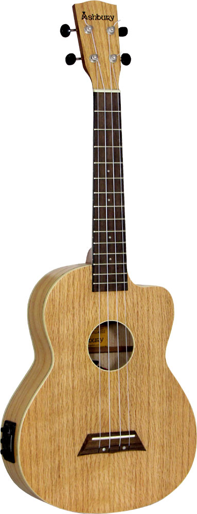 Ashbury Tenor Ukulele, Electro Acoustic Cutaway with Fishman Kula uke pickup. Flame oak top, back and sides.