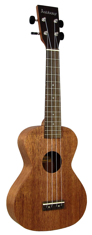 Ashbury Concert Ukulele, Solid Sapele Solid saplele top, back and sides. Slightly larger body size.