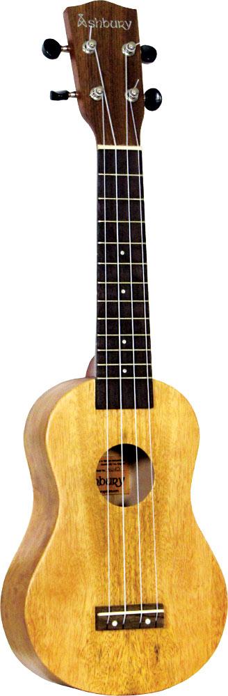 Ashbury Soprano Ukulele, Mango Wood Mango wood top, back and sides. Hardwood fingerboard and bridge..