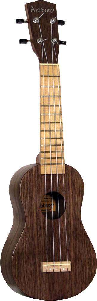 Ashbury Soprano Ukulele, Black Walnut Black walnut top, back and sides. Maple fingerboard and bridge.