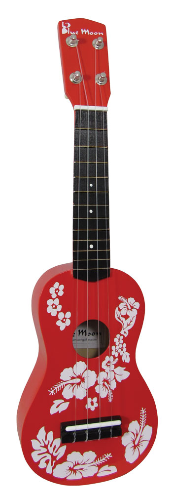 Blue Moon Soprano Flower Ukulele, Red Soprano size with red finish. Basic and fun playable instrument.