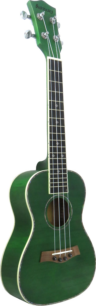Ashbury Concert Uke, Flamed Maple All flamed laminate maple wood with see through green finish