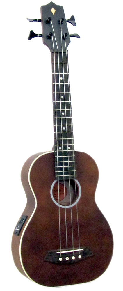 Ashbury Bass Ukulele, Solid Spruce Top Solid spruce top, solid maple back and mahogany sides. Flatwound alloy strings.