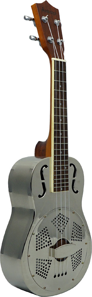 Ashbury Concert Resonator Ukulele Engraved nickel plated bell brass body.