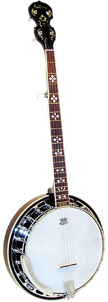 Ashbury 5 String Banjo, Brass Tone Ring Good quality brass tone ring, 24 tension hooks, mahogany resonator and rim..