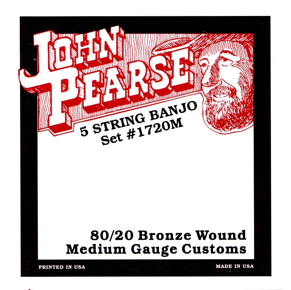 John Pearse 5 String Banjo, Medium, Bronze Medium gauge bronze-wound 5 string Banjo strings set from John Pearse