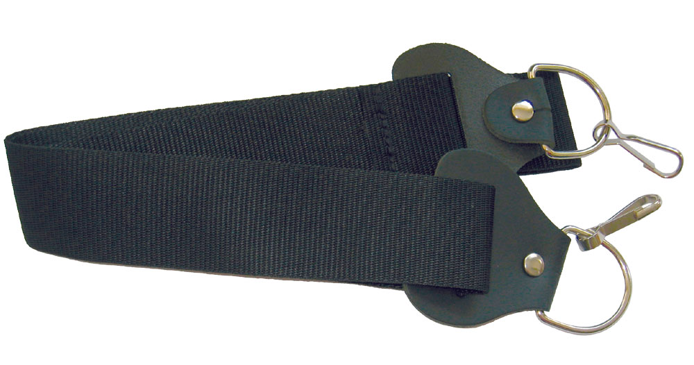Ashbury Webbing Banjo Strap Adjustable, with metal clips and quality leather ends. Black webbing.