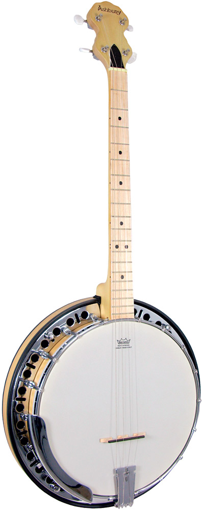 Ashbury Tenor Banjo, 19 Fret, Maple Rim Maple series. 4 string, maple rim & resonator, rolled brass tone ring, .