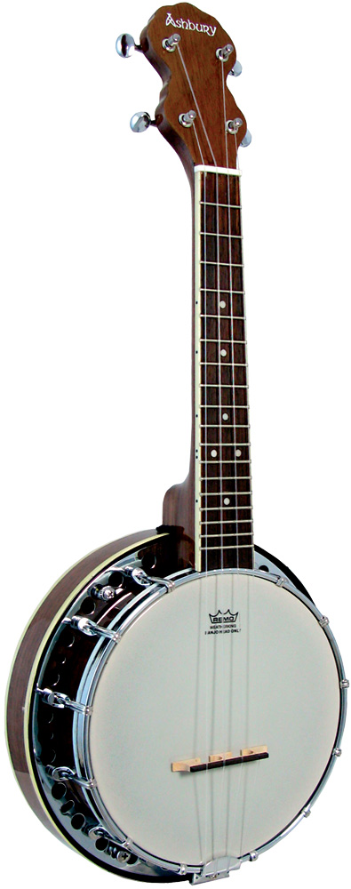 Ashbury Ukulele Banjo, Resonator, Walnut Walnut rim & resonator, 12 tension hooks, no knot style tailpiece..