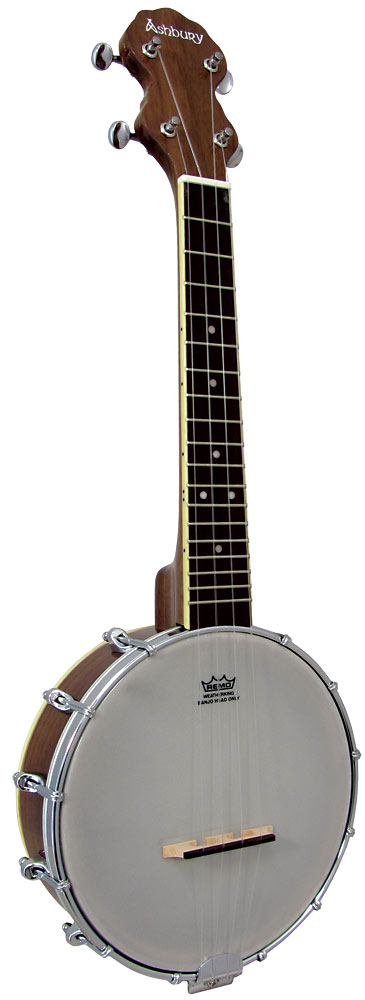Ashbury Ukulele Banjo, Walnut Walnut back plate/resonator with walnut rim & neck, 12 tension hooks..