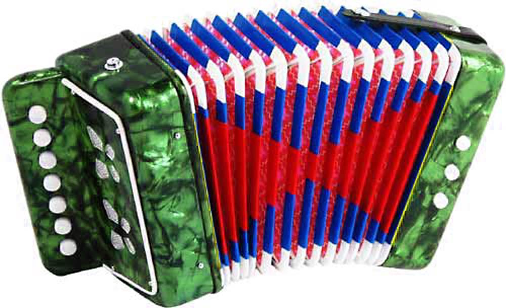 Scarlatti Child's 7 Key Melodeon, Green 2 bass buttons, 1 bass side air button and 7 treble in C, Mini Squeezebox!