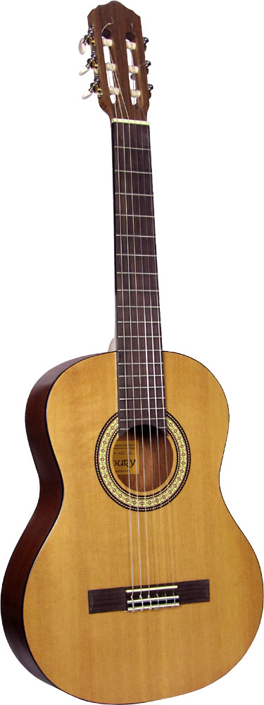 Ashbury Classical Guitar, 3/4 size Spruce top, mahogany back and sides, decal rosette.