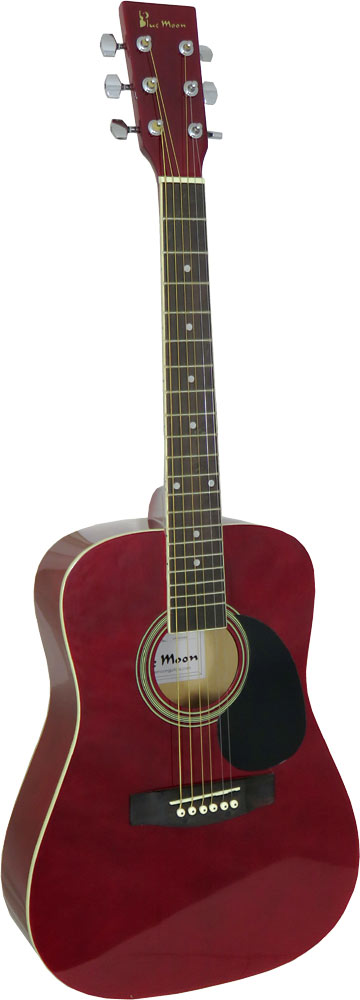 Blue Moon Mini Dreadnought Guitar, Red 3/4 size body, steel strung. Red gloss finish, spruce top, linden back & sides.