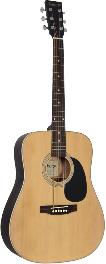Ashbury Solid Top Acoustic Guitar Dreadnought body, Solid canadian spruce top, nato back and sides.