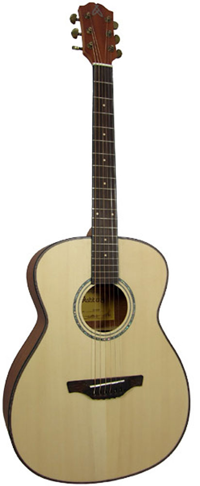 Ashbury OOO Guitar, Solid Spruce Solid Engleman spruce top. Flamed mahogany back and sides. Satin finish.