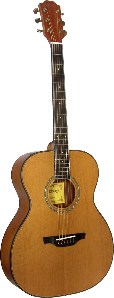 Ashbury OOO Guitar, Solid Cedar. Solid Cedar top. Mahogany body with a satin finish..