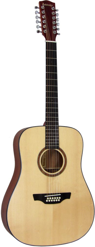 Ashbury Dreadnought Guitar, 12 string Dreadnought body with a Solid spruce top and mahogany back and sides.