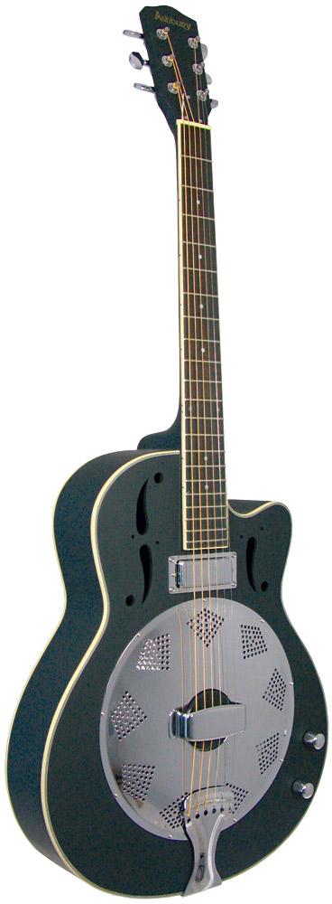 Ashbury Resonator Guitar, Electro Electro acoustic cutaway. Mahogany top, back and sides. Black satin finish.