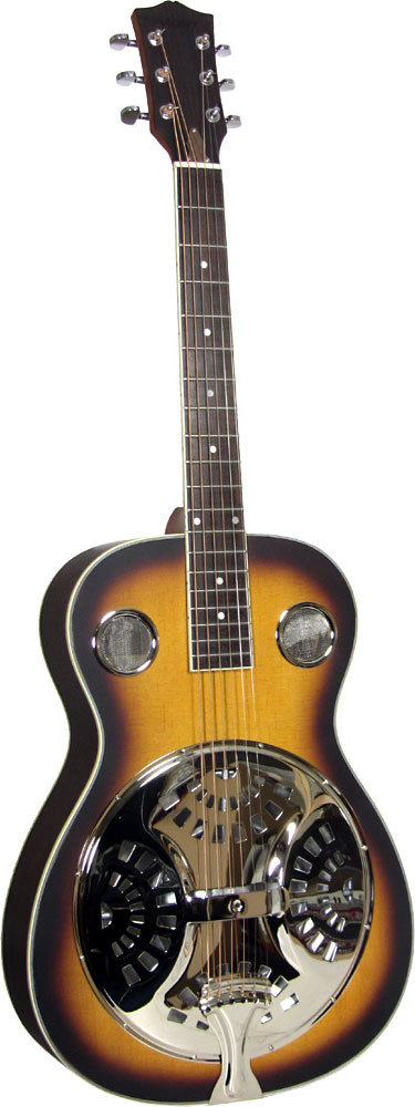 Ashbury Resonator Guitar, Single Cone Spruce top with sunburst finish and rosewood back and sides. Round neck..