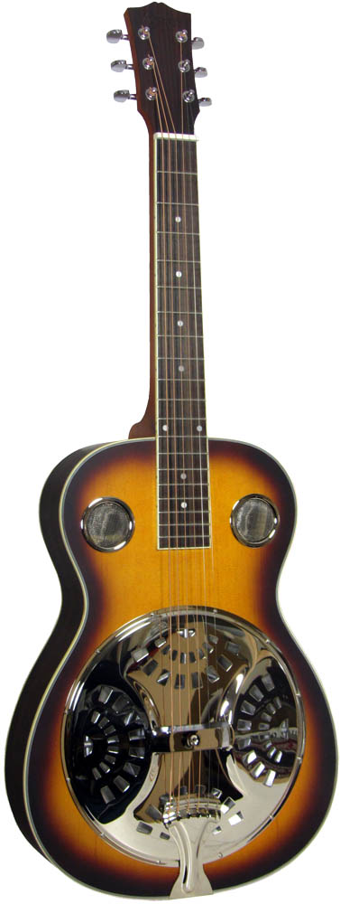 Ashbury Resonator Guitar, Square Neck Spruce top with sunburst finish and rosewood back and sides. Square neck..
