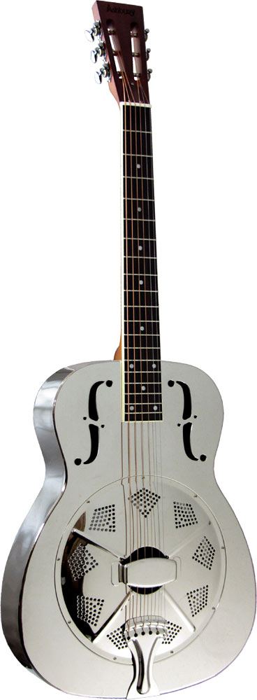 Ashbury Resonator Guitar, Single Cone Brass bodied, chrome plated, single biscuit cone.