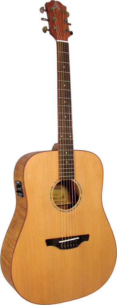 Ashbury Dreadnought Guitar, Electro Solid Cedar top. Flamed mahogany body, satin finish. Fishman Isys Pick-up.