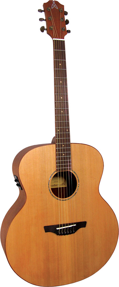 Ashbury Jumbo Guitar, Electro Acoustic Solid Cedar top. Mahogany body with a satin finish. Fishman Isys Pick-up.