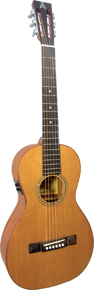 Ashbury Parlour Guitar, Electro Solid Cedar top. Mahogany body with a satin finish. Fishman Isys P/U.