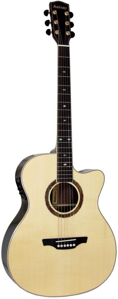 Ashbury 000 Acoustic Guitar, Electro Solid engelmann spruce top with 2 piece rosewood back with maple centre strip.