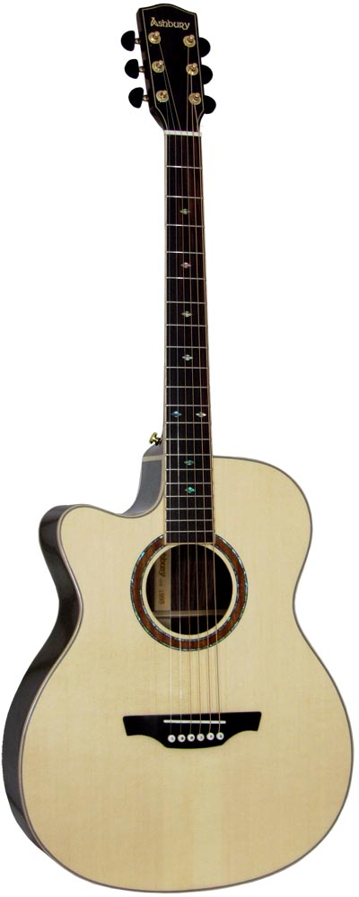 Ashbury 000 Guitar, Electro, Left Hand Left handed. Solid spruce top with 2 piece rosewood back with maple centre strip