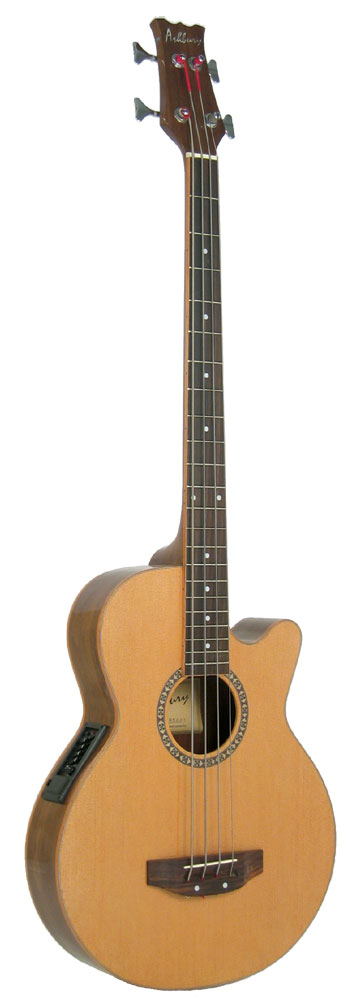 Ashbury Electro Acoustic Bass Guitar Electro acoustic, spruce top, walnut body, cutaway, with 4 band EQ. Gloss finish