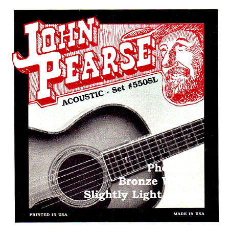 John Pearse Guitar Set, Slightly, Phos Brz .011-.050. Slightly-Light string set, Phosphor Bronze